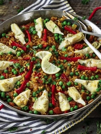 Fully cooked and prepared Vegetable Paella in a pan.