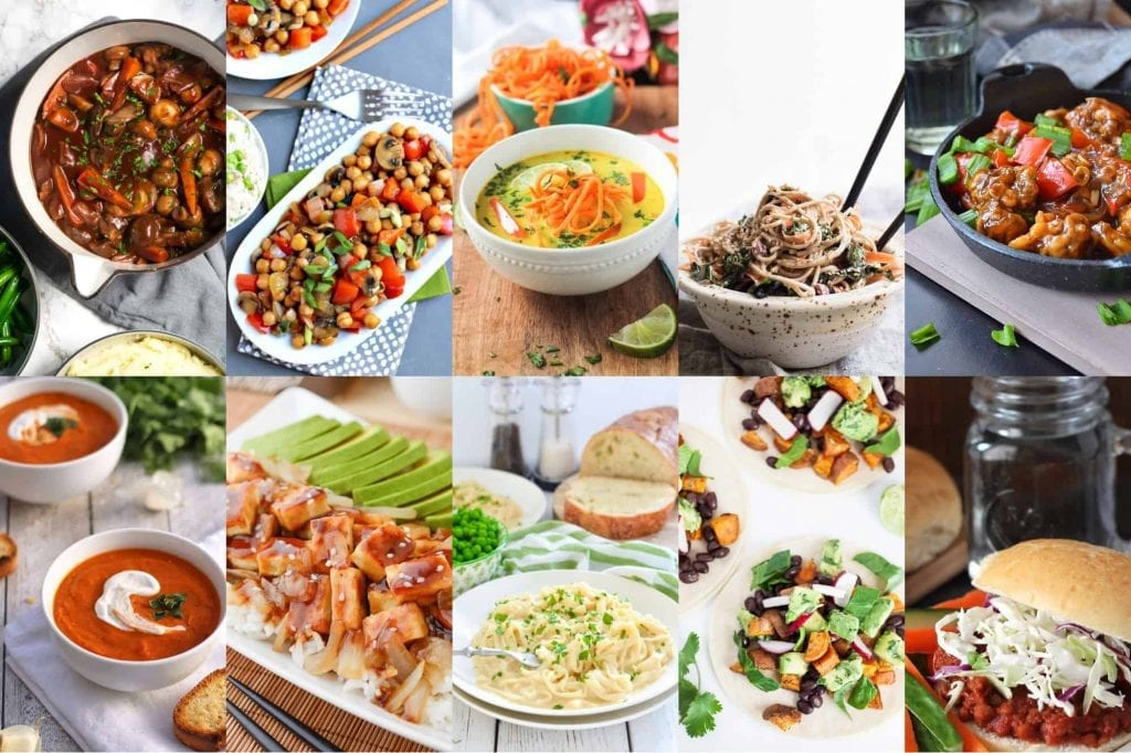 Photo collage of 10 easy vegan dinner recipes