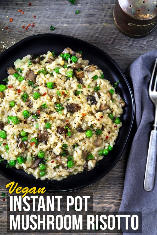Instant Pot Mushroom Risotto ~ cuts your cook time in half. It takes just 15 minutes and you don't have to keep stirring.