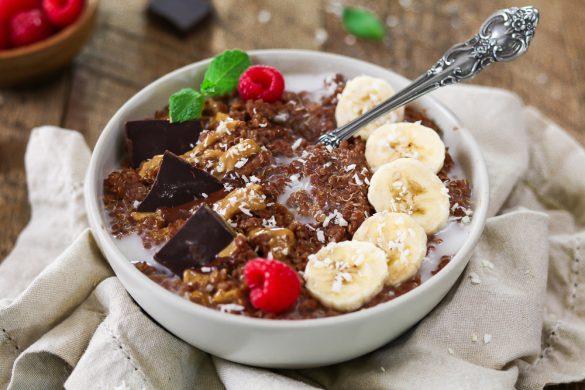 Closeup photo of breakfast quinoa bowl.