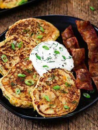 Vegan Savory Pancakes with Cheddar & Green Onion