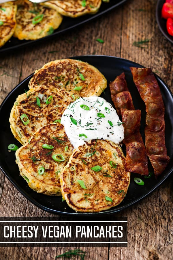 Cheesy Vegan Savory Pancakes