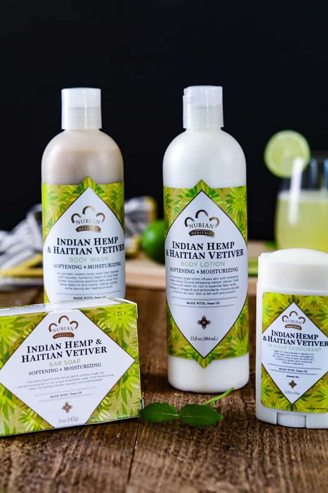Indian Hemp Nubian Heritage products with Fresh Limeade in the background
