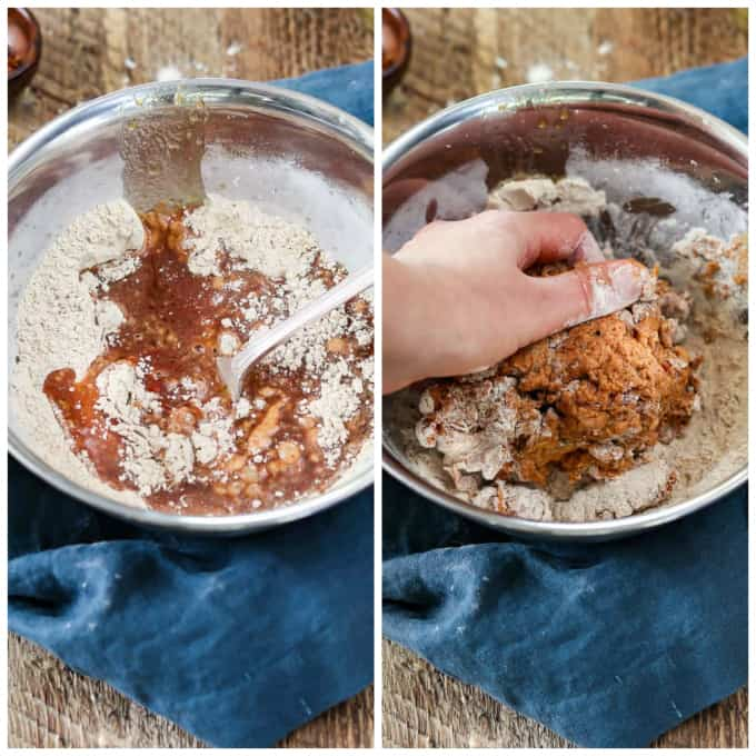 Two process photos of making dough for vegan pepperoni recipe. One unmixed and one being kneaded by hand.