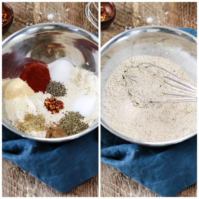 two process photos of dry ingredients for vegan pepperoni. One unmixed and one whisked together.