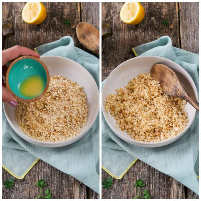2 process photos of adding vegan butter to breadcrumbs.