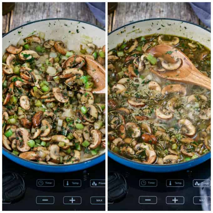 2 process photos of sautéing mushrooms and adding vegetable broth to the pan.
