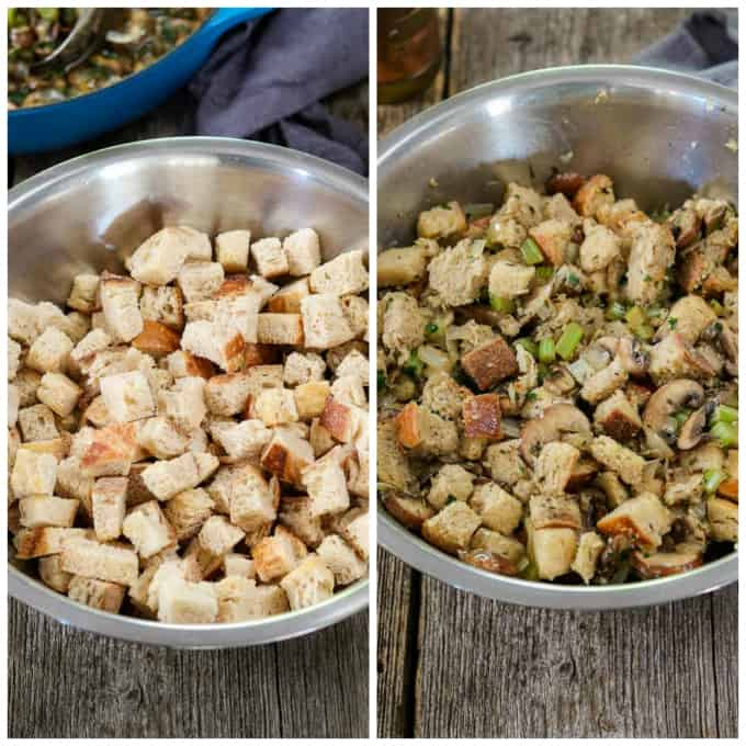 2 process photos of dry bread cubes and wet cubes.