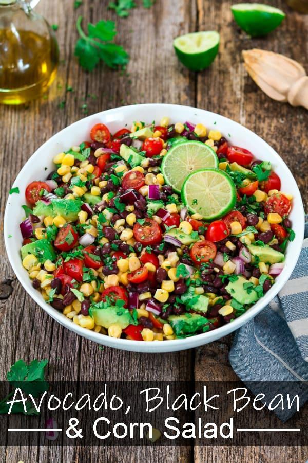 Avocado Black Bean Corn Salad w/ Cilantro Lime Dressing
