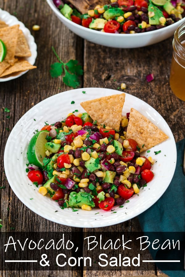 Avocado Black Bean Corn Salad ~ fast, easy, fresh and colorful! No cooking required - just chop the veggies and tosswitha zestyCilantro Lime Dressing.