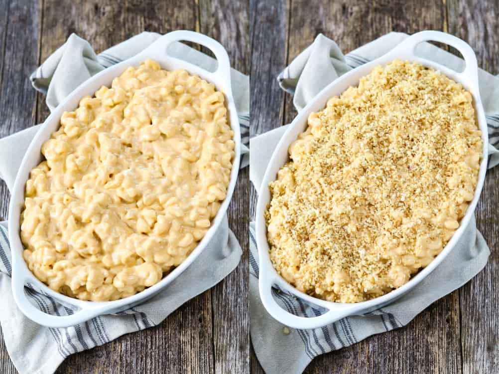 Process photos - macaroni and cheese in a casserole dish before baking. Another photo with topped with breadcrumbs.