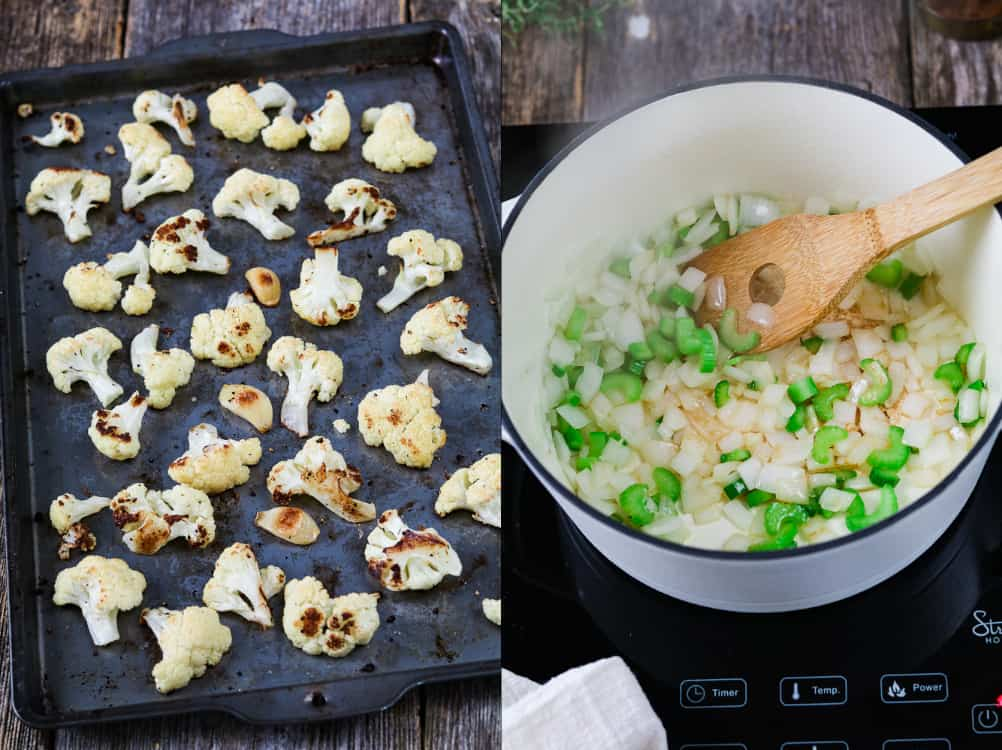 process photos - baking pan with roasted cauliflower and white pots with sautéing onions and celery.