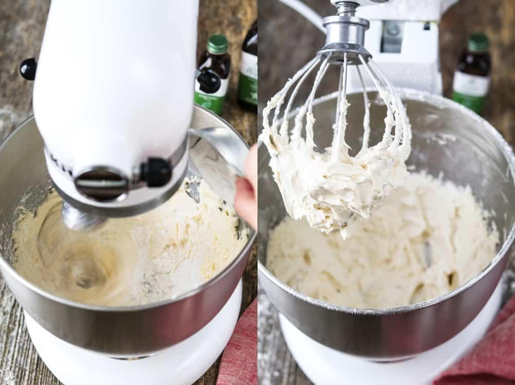 Mixing vegan buttercream in a stand mixer.