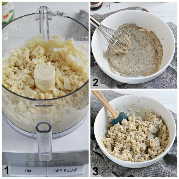 3 process photos of shredding hearts of palm, whisking dressing and mixing it together in a white bowl.