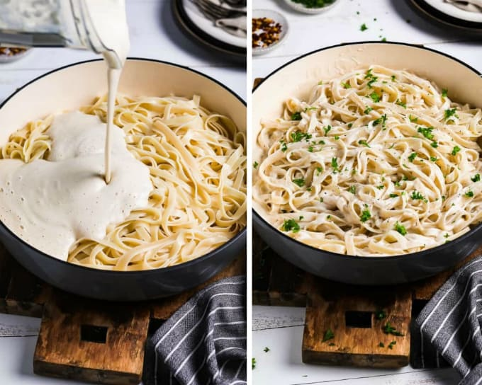 2 process photos of pouring vegan alfredo sauce into a pan of pasta. Then combined and topped with parsley.