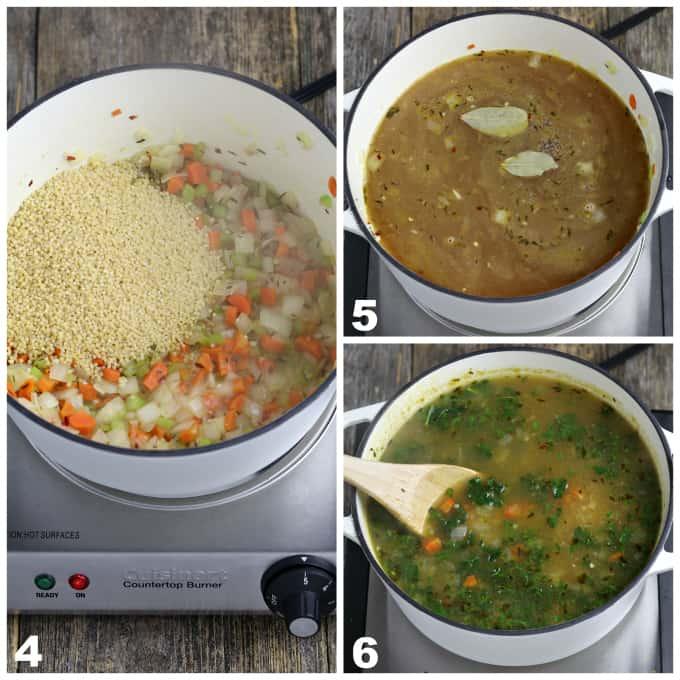 three process photos of adding broth, kale and pasta to sautéd veggies in a white pot.