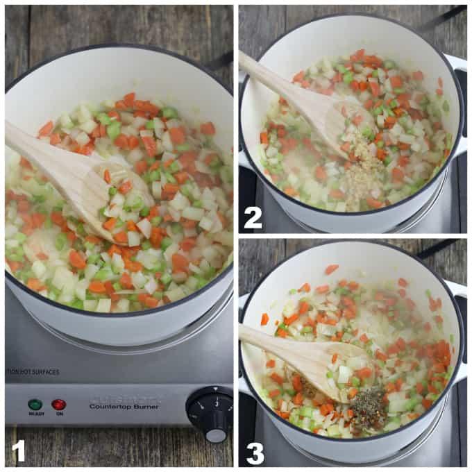3 process photos of sautéing onions, carrots and celery for vegan italian meatball soup.
