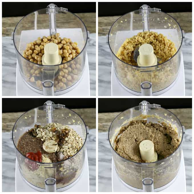 4 process photos of mixture in a food processor. Garbanzo beans, oats, breadcrumbs and mushroom mixture.