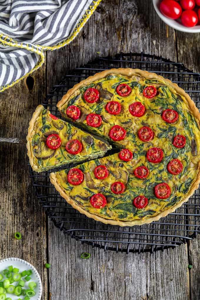 quality design 4a05a 39bb3 overhead view of easy vegan quiche on a cooling rack with one slice cut out.