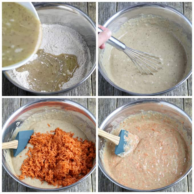 Process photos of combining wet ingredients into dry ingredients and folding in carrots.