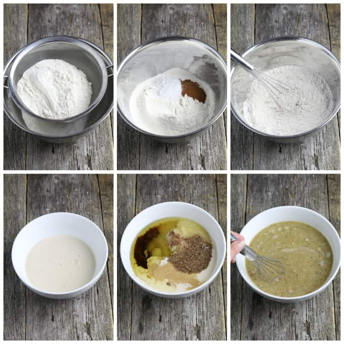 6 process photos of making batter in a mixing bowl.