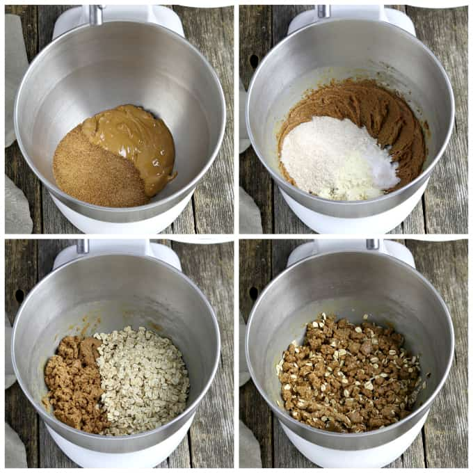 four process photos of mixing dough in a stand mixer for peanut butter squares.