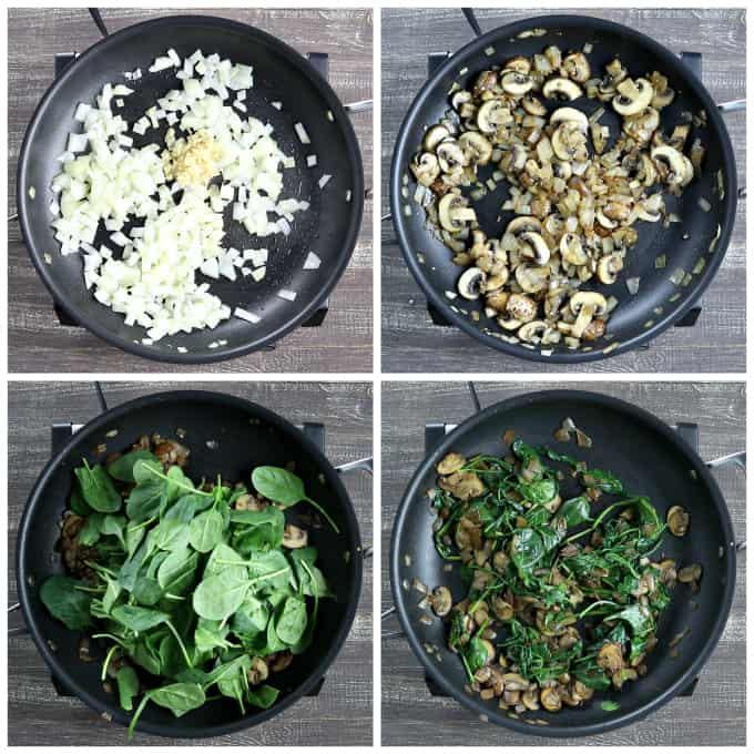 4 process photos of sautéing onions, garlic, mushrooms and spinach in a pan for vegan quiche.