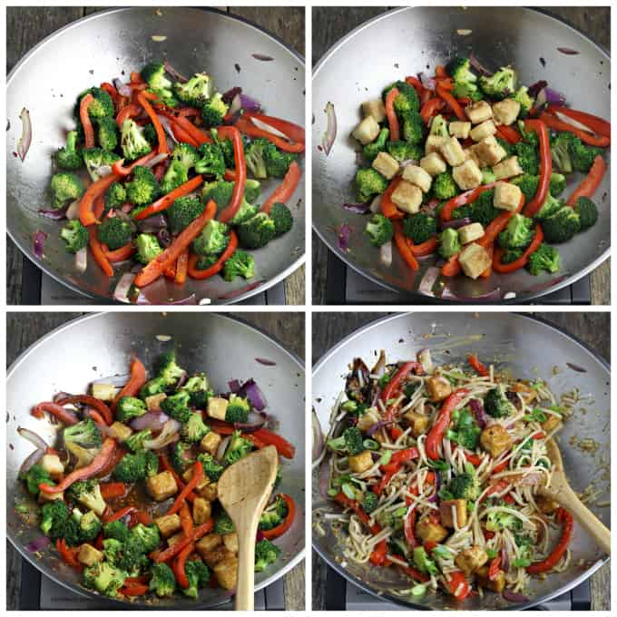 4 process photos of cooking veggie stir fry in a wok.