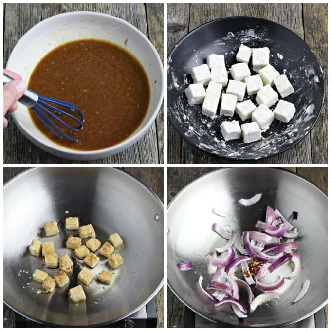 4 process photos of making marinade and prepping tofu for veggie stir fry recipe.