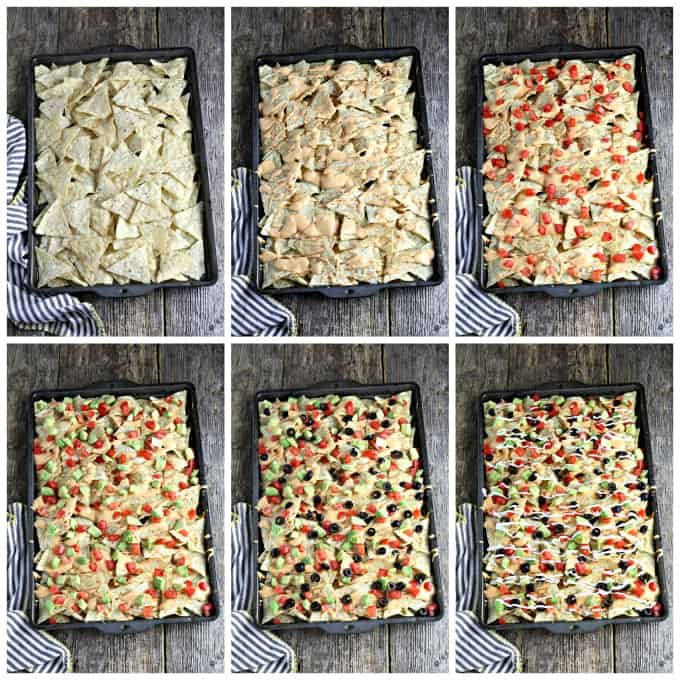 6 process photos of making vegan nachos in a baking pan and loading with toppings.