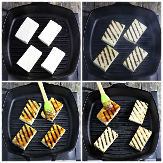 four process photos of grilling tofu on a grill pan.