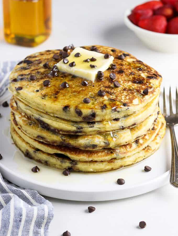 side view of vegan chocolate chip pancakes