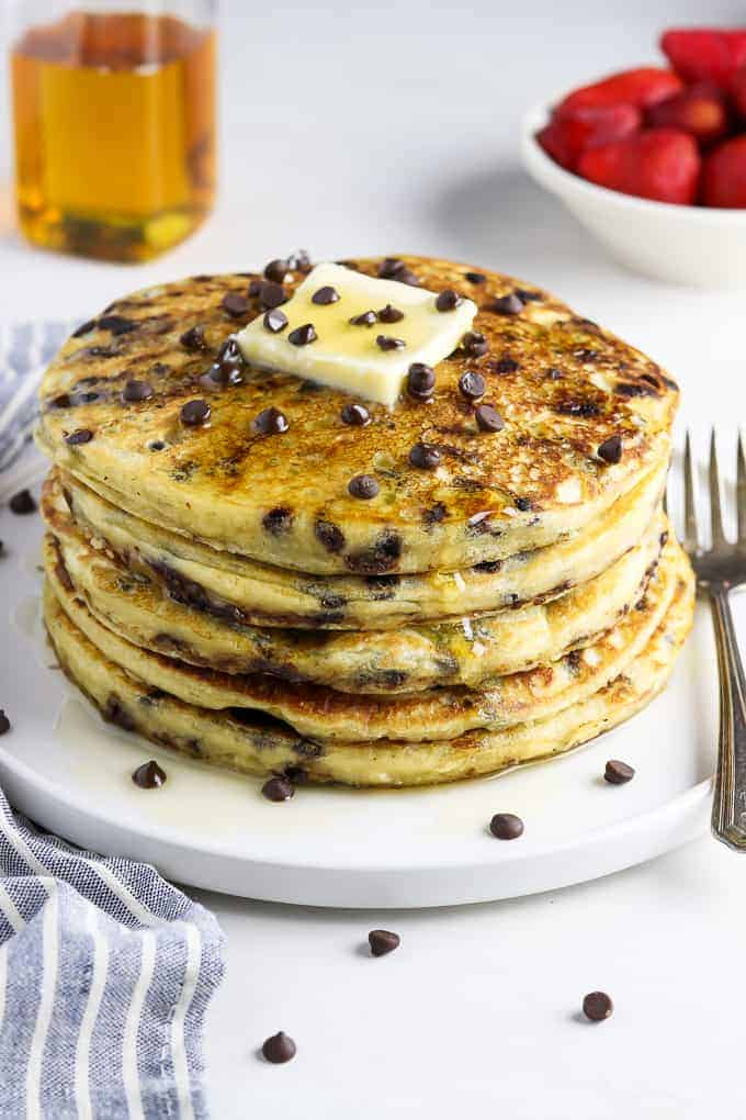 side view of vegan chocolate chip pancakes