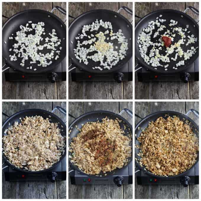 Six process photos of cooking jackfruit in a pan.