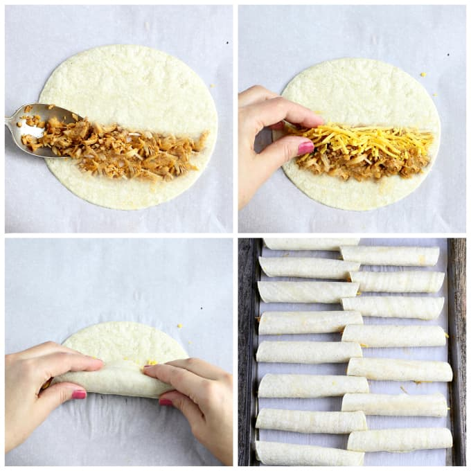Four process photos of assembling taquitos.