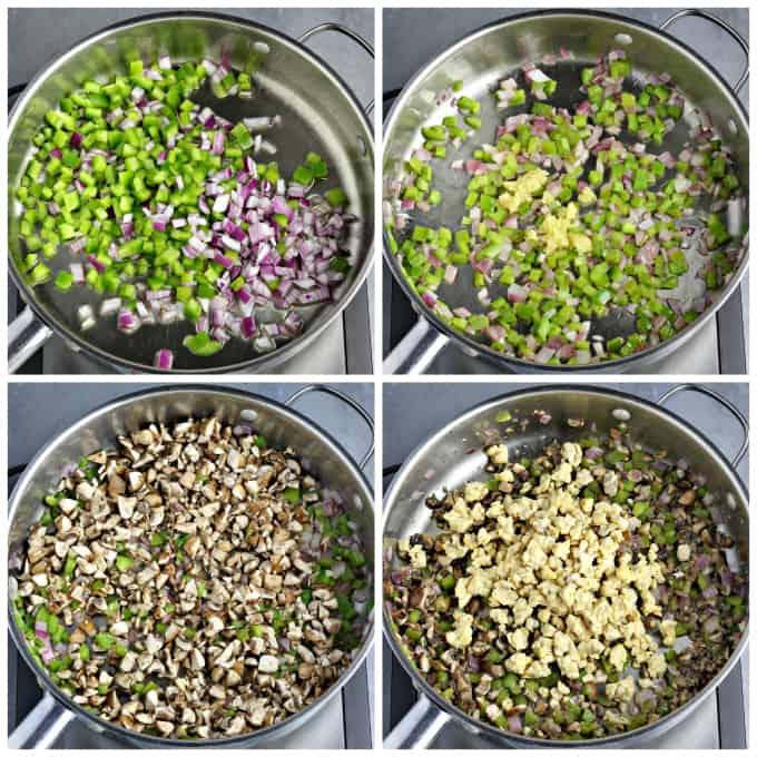 Four process photos of sautéing veggies in the pan.