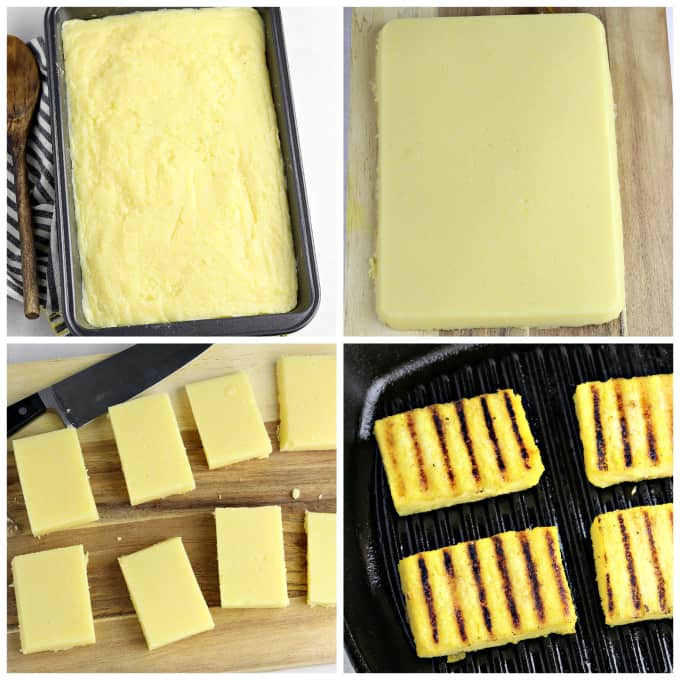 Four process photos of prepping and grilling polenta.