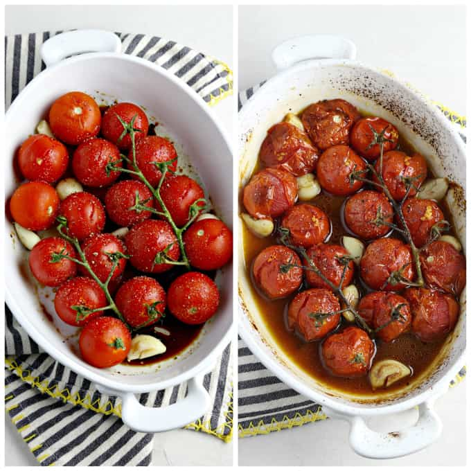 Two process photos of roasting tomatoes in a white baking dish.