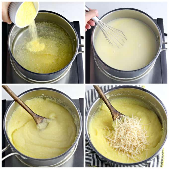 Four process photos of making polenta in a pot.