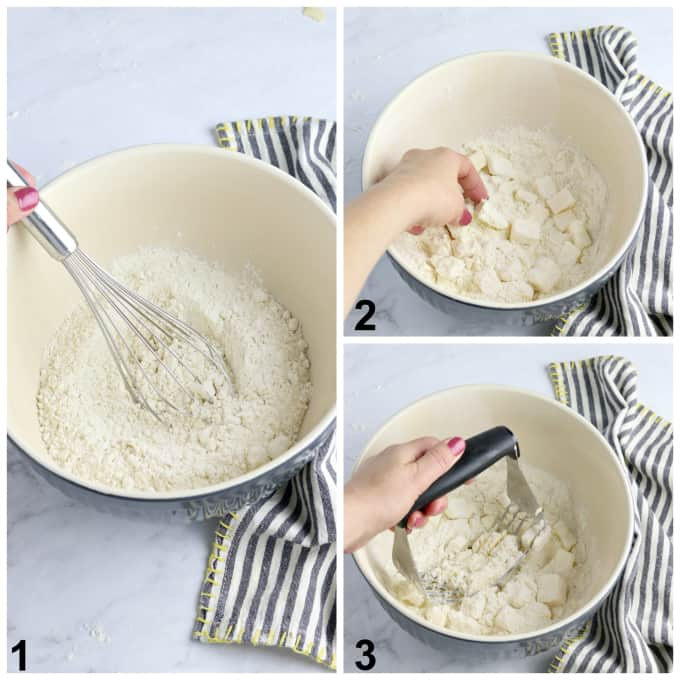 3 process photos of whisking flour and cutting butter into it.