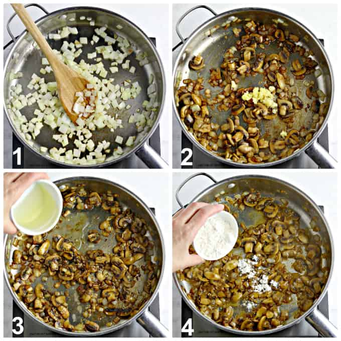 4 process photos of making the creamy sauce in a pan.