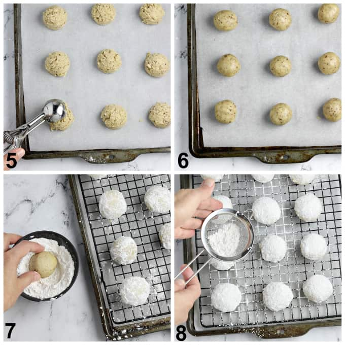 4 process photos of baking dough and coating in powdered sugar.