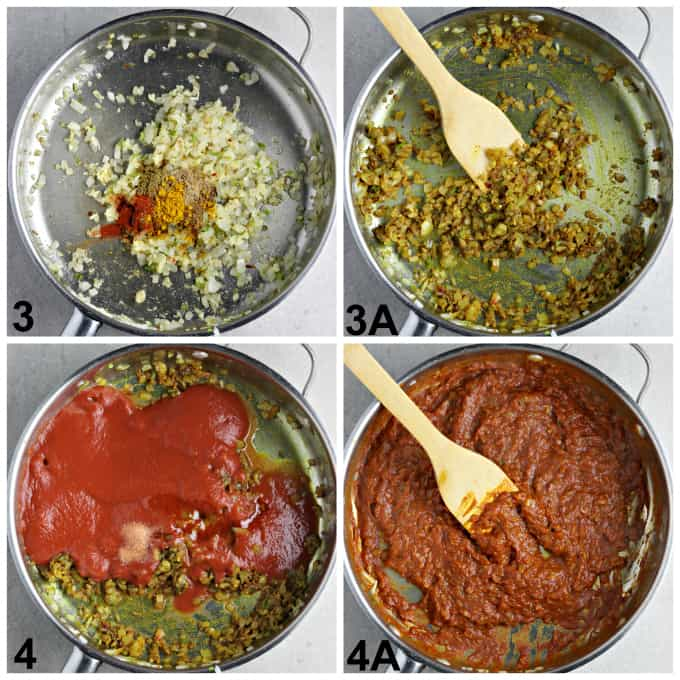 4 process photos or making the tomato-based sauce in a pan.