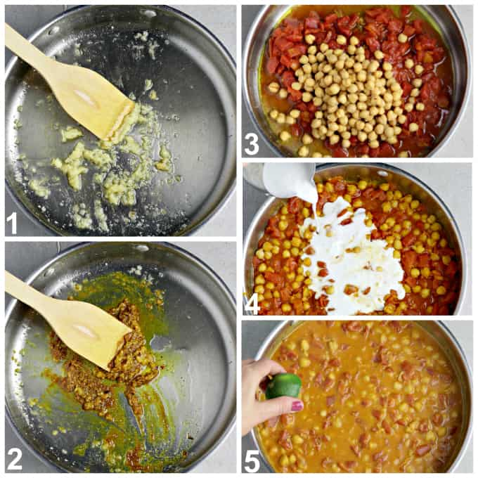 Five process photos of sautéing garlic, ginger and spices. Then simmering sauce.