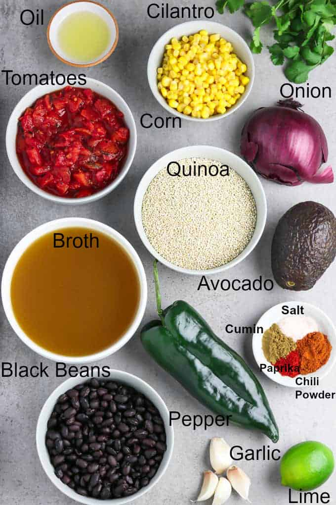 All ingredients for recipe on a stone table top.