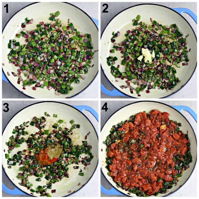 4 process photos of sautéing onions, peppers, tomatoes and spices.