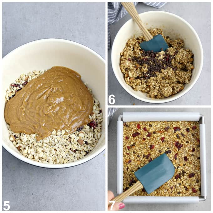 3 process photos of mixing dry ingredients with the wet and spreading in baking pan.