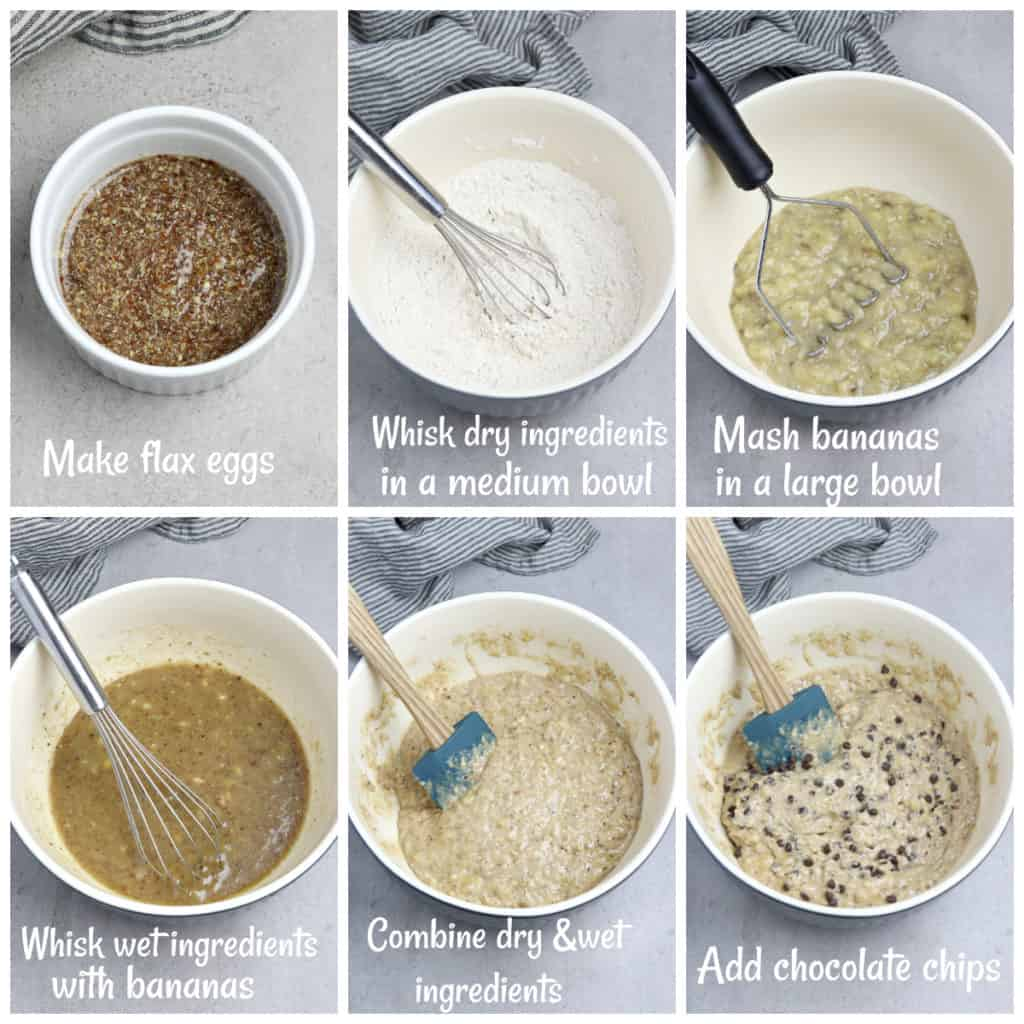 6 process photos of making banana bread batter.