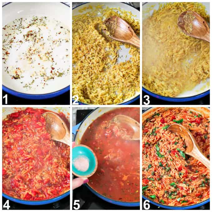 Six process photos of cooking orzo in a pan.