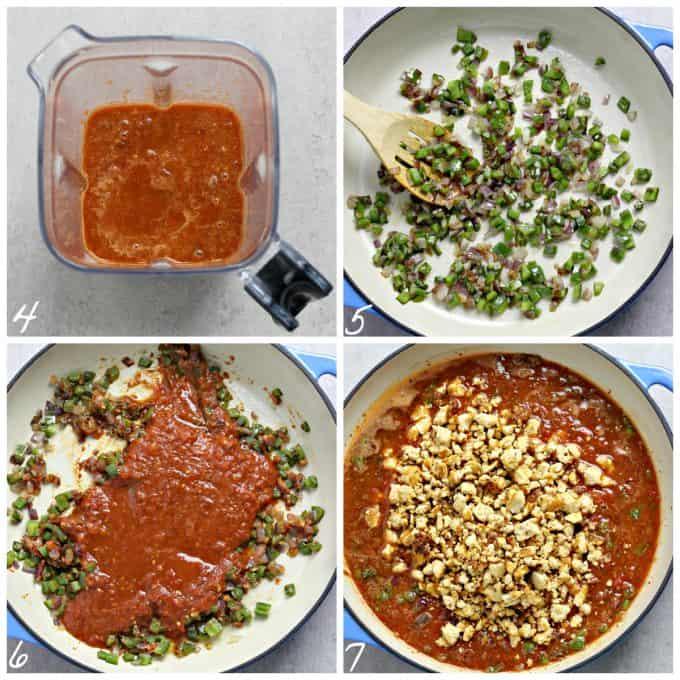 4 process photos of blending sauce, sautéing veggies and simmering tofu in sauce.